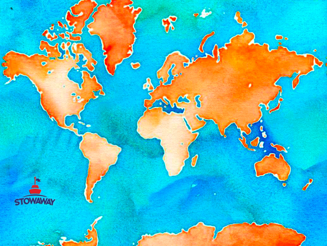 Watercolor World Map Vibrant